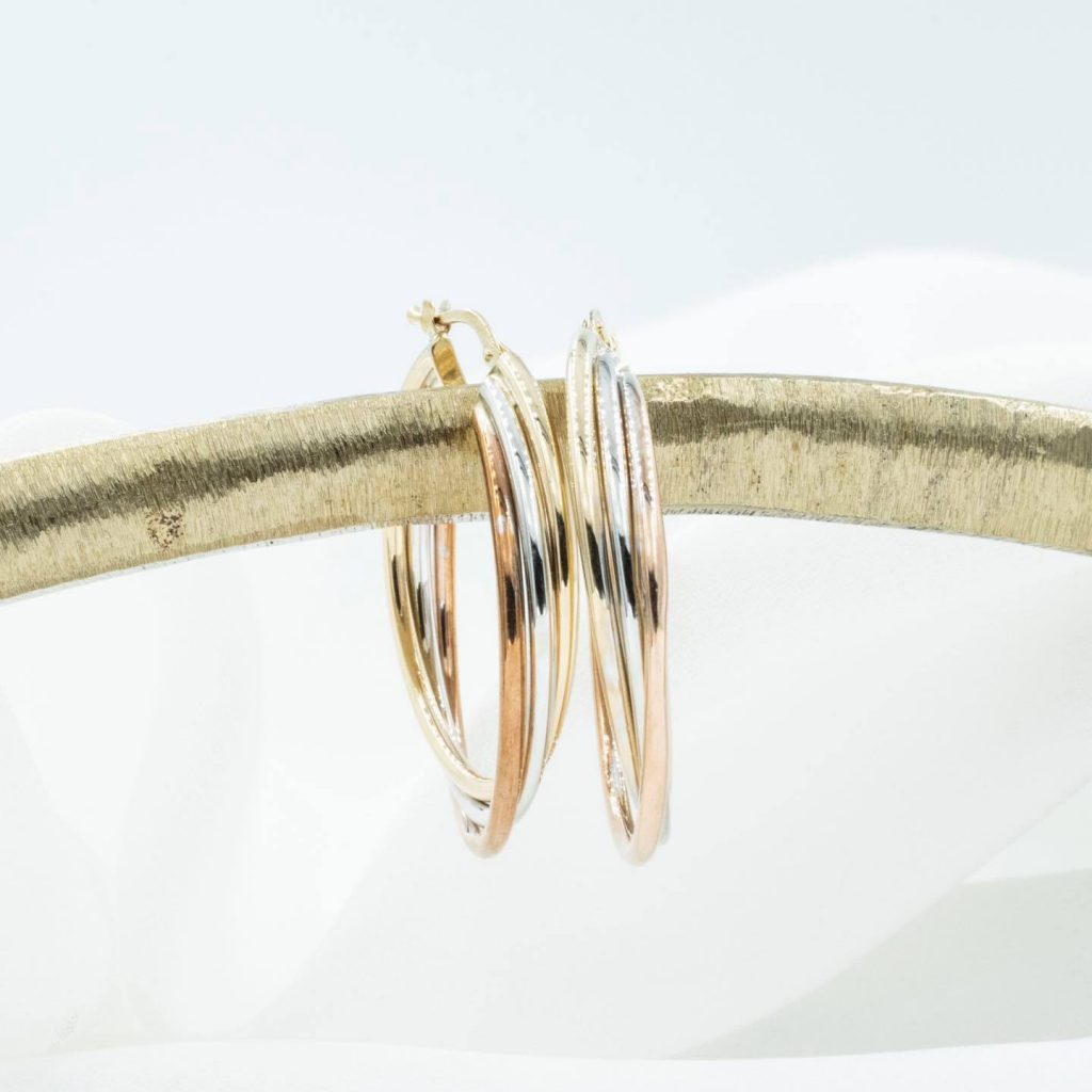These gorgeous hoops crafted from rose gold, silver and gold showcase the versatility of rose gold.