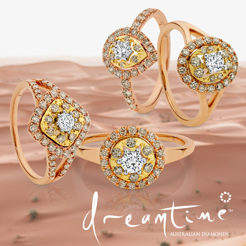 Dreamtime Diamond rings crafted from rose gold.