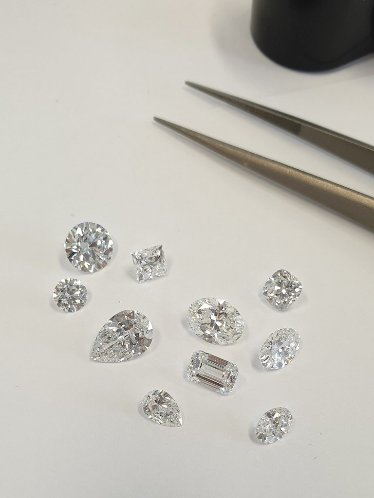 Diamonds of various shapes and carats