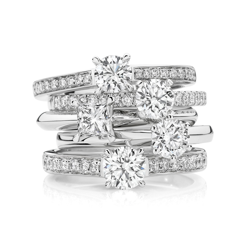 Stack of diamond engagement rings from Passsion8 Diamonds.